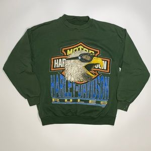 Harley Davidson RARE Vintage Green Sweatshirt
